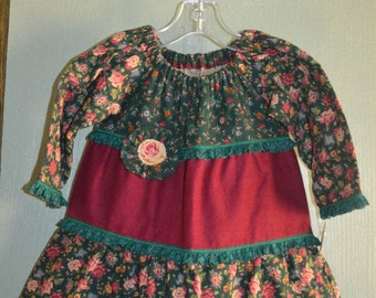 Infant Girls Green and Burgundy, Floral Print Three Tiered Flannel Peasant Dress Size 18 Months