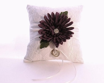 On Sale White Satin With Lace Overlay Ring Bearer Pillow Featuring a Wine Colored Chrysanthemum