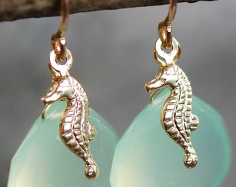 Gold Chalcedony Seahorse Earrings, Aqua Briolette Gemstones Wire Wrapped 14K Gold Fill Ear Wires, Nautical Charm