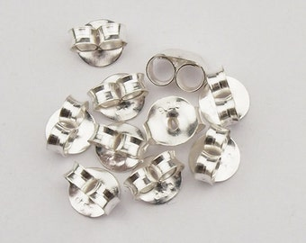 10 pairs of 925 Sterling Silver Butterfly Earring Backs Findings. :th1732