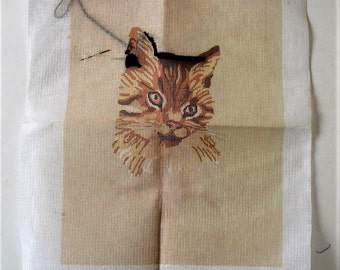 """Vintage 70's unfinished cat Needlepoint canvas, Erica Wilson, 11"""" x 14"""", Columbia Minerva, picture kit, Throw pillow, brown kitty, gift idea"""