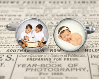 Custom Photo Cufflinks, Mens Accessories, Gift For Dad Cufflinks