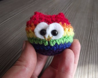 Rainbowl - tiny crochet owl in gay pride colours