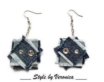 Denim jewelry Denim Earrings Jeans jewelry Geometric jeans earrings Raw edges Denim Earrings Denim Blue Denim Earrings Long denim earrings