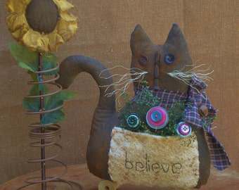 RESERVED LISTING for Vicki---Prim Believe Cat with flowers for Summer Decor and Home Decor