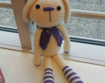 the toy striped yarn crocheted handmade Easter Bunny