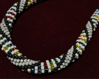 DNA inspired bead crochet necklace