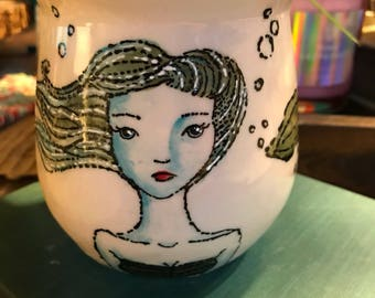 Mermaid mug with starfish thumb rest handmade pottery