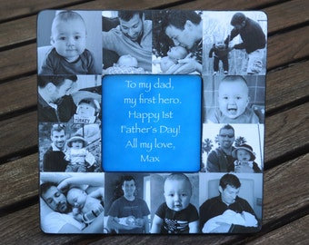Father's Day Collage Frame, Personalized Father's Day Gift, Unique Baby Photo Collage Frame, Baby's First Year, Custom Dad Birthday Frame