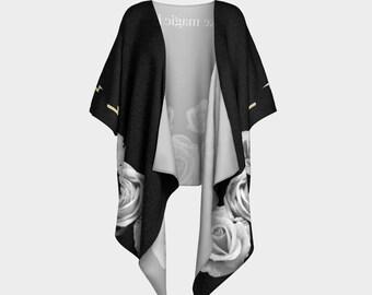 I Make Magic Happen, Black White Roses Draped Kimono, wrap, gift for her, Canadian made