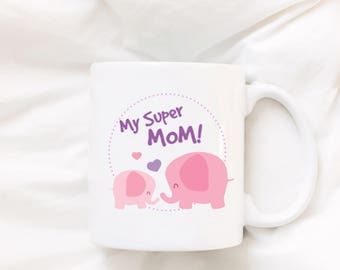 Coffee Mug - Elephant Mug - Cute Mug - Animal Coffee Mug - Tea Cup - Mothers Day Gift - Birthday Gift - Christmas Gift - Anniversary Gift