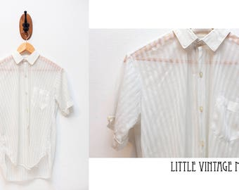 White See Through Short Sleeved Button Up