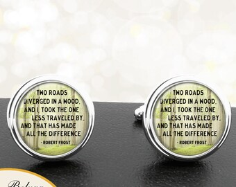Cufflinks The Road Not Taken Handmade Cuff Links Fathers Dads Men French Cuff Accessory