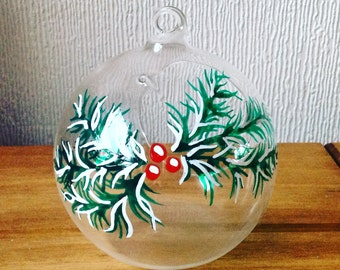 Hand Painted Glass Tealight Bauble
