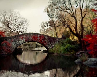 Central Park Print, Red, Brown, New York Photography, Large Wall Art, Rustic, Fall in Central Park Bridge