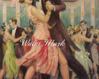 Instant Digital downloa*Flapper 1920 and partner dancing*Stunning, decoupage, collage,sewing.ornaments