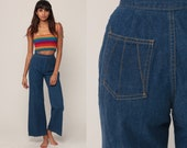 Denim Bell Bottoms Jeans High Waisted Jeans 70s Flared Denim Pants Super High Waist 1970s Vintage Hipster Blue Jean Extra Small xs 23 00
