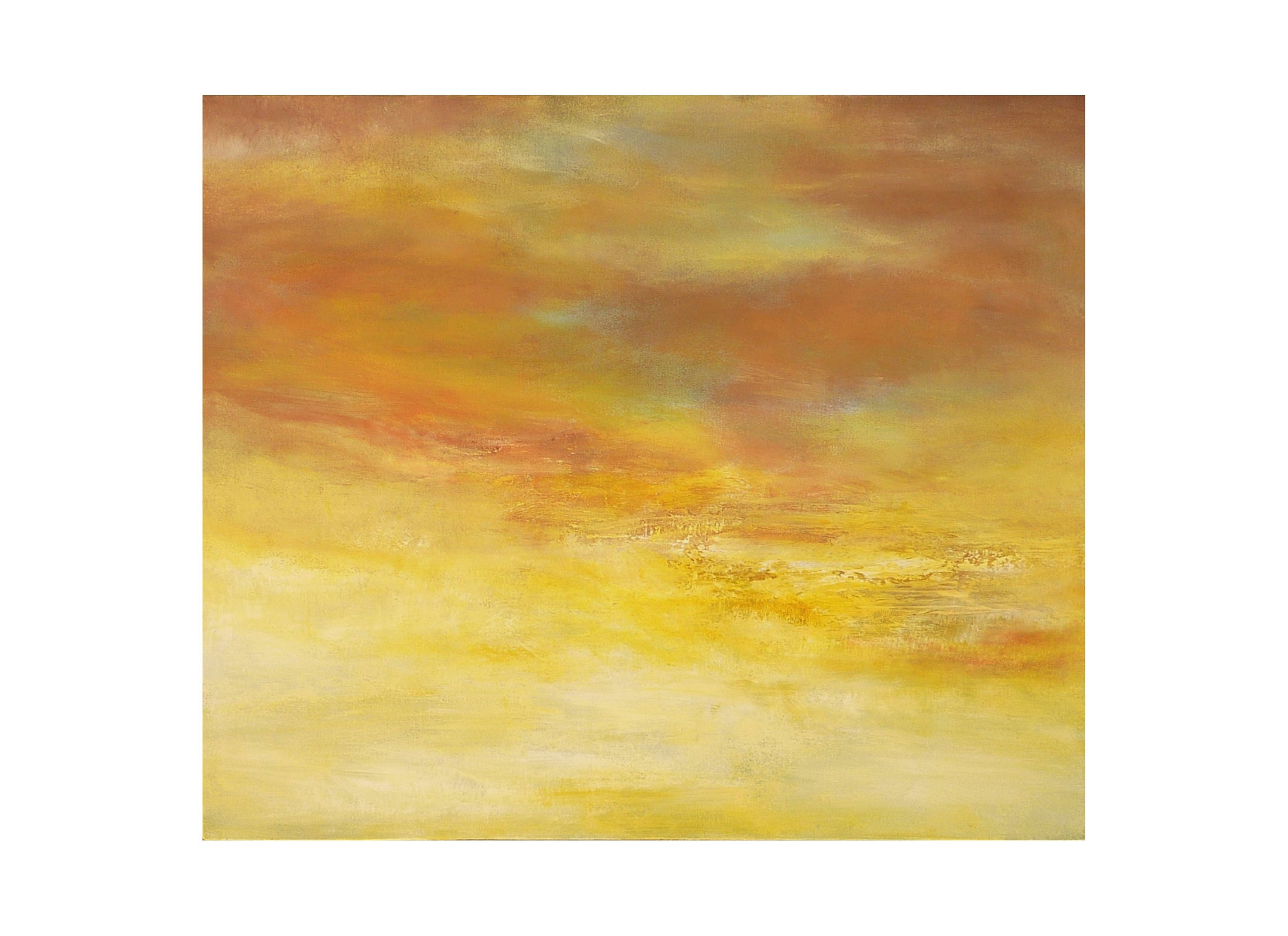 sunset sunrise painting yellow cloud sky bright white abstract