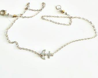 silver sideways anchor necklace