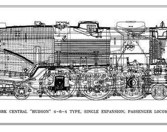 """New York Central """"Hudson"""" 4-6-4 Type Locomotive Drawing - Side View"""