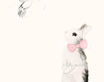 Girl Nursery Decor - 8x10 / A4 Art Print of Bunny Rabbit with Light Pink Bow-tie and Hummingbird - Shabby Chic Watercolour Decor