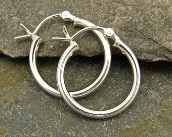 Sterling Silver Hoops - 18mm - Polished - One Pair - shp18