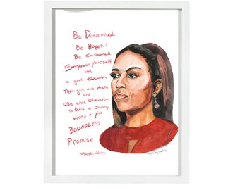 Michelle Obama Portrait, inspiring women, Boundless Promise quote, Education
