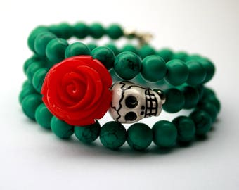 Turquoise Skull Memory Bracelet Day of the Dead Jewelry Sugar Skull Bracelet Red Rose Green Muertos Bracelet