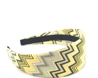 Wide Chevron Zig Zags Headband - Retro Headband - Big Girl Headband, Adult Headband - Yellow, Gray and White