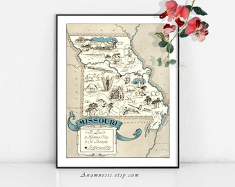 MISSOURI MAP - Instant Digital Download - printable vintage picture map for framing, totes, t-shirts, mugs, t-shirts - fun retro map art