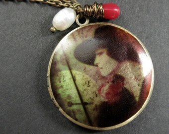 Elegant Woman Locket Necklace with Red Coral and Fresh Water Pearl. Handmade Jewelry.