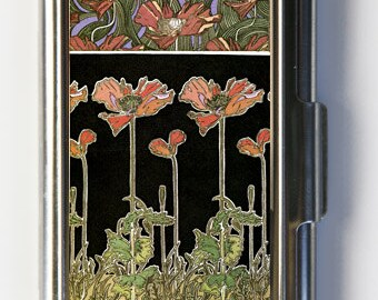 Art Nouveau Poppies Flowers Business Card Holder Card Case