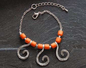Silver Statement bracelet, Spiral bracelet, Hammered Tribal bracelet, Tangerine charm bracelet, Personalized jewelry for women, 1171-11