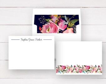 Personalized Stationery Set - Flat Notecards  + Lined Envelopes (Sets of 10) / Personalized Notecards / Note Cards