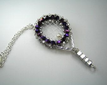 Tennis Racquet Charm, Tennis gift, sport gift, beaded charm, crystal charm, team gift, team charm, purse charm