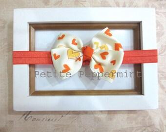 Orange Baby Headband, Baby Bow headband,Baby Hair Bow,Orange Baby Hair Bow,Infant Headband,Toddler Headband,Baby Girl Headband