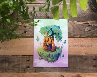 Grapefruit Guardian / Original Artwork A5 Print - LostAstronaut