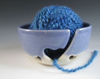 Ceramic Yarn Bowl, Pottery Knitting Bowl, Hearts, Periwinkle Purple and White