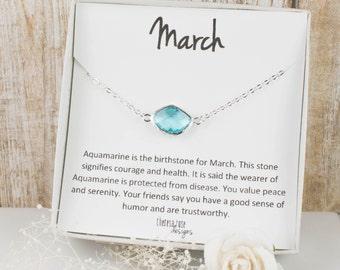 March Birthstone Silver Necklace, Aquamarine Silver Necklace, March Birthstone Jewelry, March Birthday Gift, Aquamarine Necklace