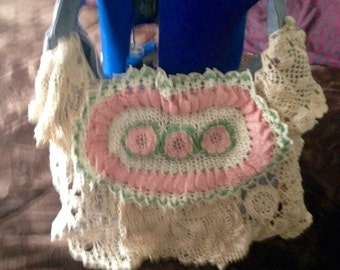 PASTEL PINK and IVORY vintage lace purse doily shoulderbag upscaled repurposed