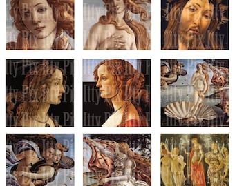 Botticelli Digital Collage Sheet - Inchies - Birth of Venus - 1 inch square - Fine Art - Instant Download