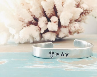 God is greater than the Highs and lows - silver Encouragement gift - customizable