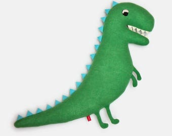 Woody the Dinosaur Knitted Lambswool Plush Soft Toy - In stock