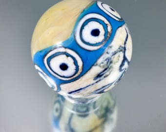 southwestern hand spun marble, dark ivory opal yellow turquoise glass, collectable marble, lampwork marble, artisan marble