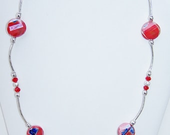 Red silver glass macaroni necklace