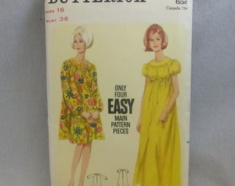 Vintage Butterick Pattern 4193 Casual Dress MIsses Size 16 Factory Fold