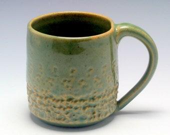 Coffee Mug, 12 oz, handthrown ceramic mug, stoneware pottery mug, textured coffee mug green with brown flecks/Ceramics and Pottery
