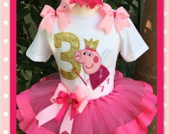 Peppa pig tutu, peppa pig birthday tutu set, peppa pig party, peppa pig birthday, peppa pig embroidered shirt