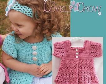 Girl Sweater Crochet Pattern BELLA REBEKAH CARDIGAN digital