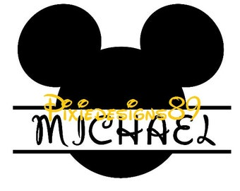 Mickey Head PERSONALISED NAME Cut Out Iron On T-Shirt Transfer